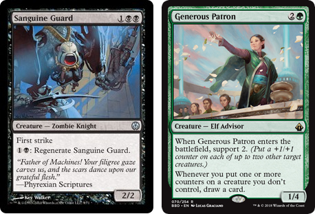 Sanguine Guard and Generous Patron MtG cards. Image: Wizards of the Coast.