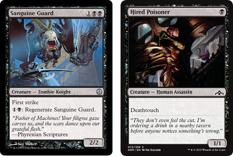 Sanguine Guard and Hired Poisoner MtG cards. Image: Wizards of the Coast.