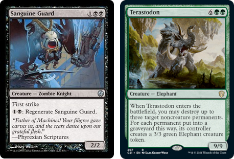Sanguine Guard and Terastodon MtG cards. Images: Wizards of the Coast.
