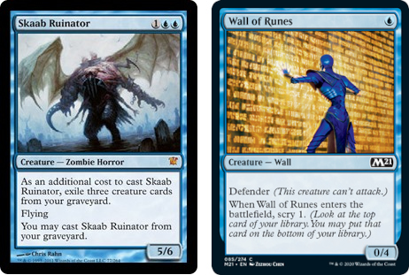 Skaab Ruinator and Wall of Runes MtG cards. Image: Wizards of the Coast.