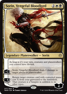 Sorin, Vengeful Bloodlord MtG card. Image: Wizards of the Coast.
