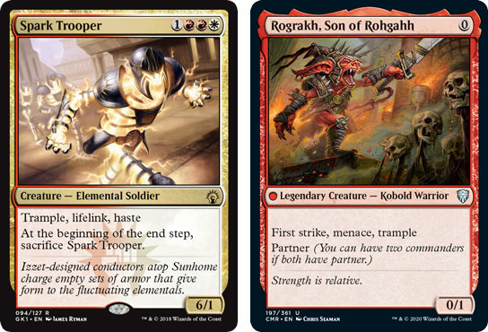 Spark Trooper and Rograkh, Son of Rohgahh MtG cards. Image: Wizards of the Coast.