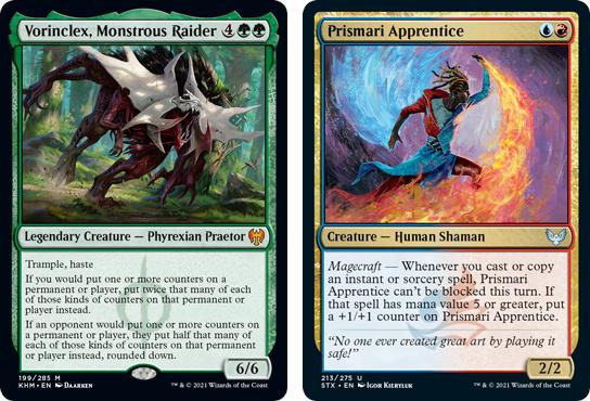 Vorniclex, Monstrous Raider, and Prismari Apprentice MtG cards. Image: Wizards of the Coast.