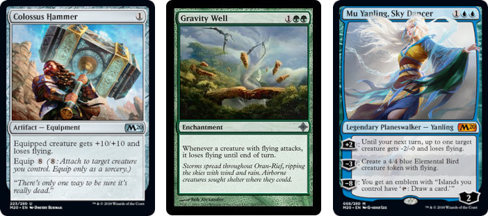 Colossus Hammer, Gravity Well, and Mu Yanling, Sky Dancer MtG cards. Image: Wizards of the Coast.