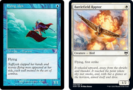 Flying Men and Battlefield Raptor MtG cards. Image: Wizards of the Coast.