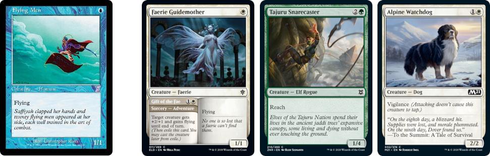Flying Men, Faerie Guidemother, Tajuru Snarecaster and Alpine Watchdog MtG cards. Image: Wizards of the Coast.