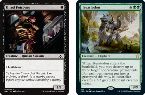 Hired Poisoner and Terastodon MtG cards. Image: Wizards of the Coast.
