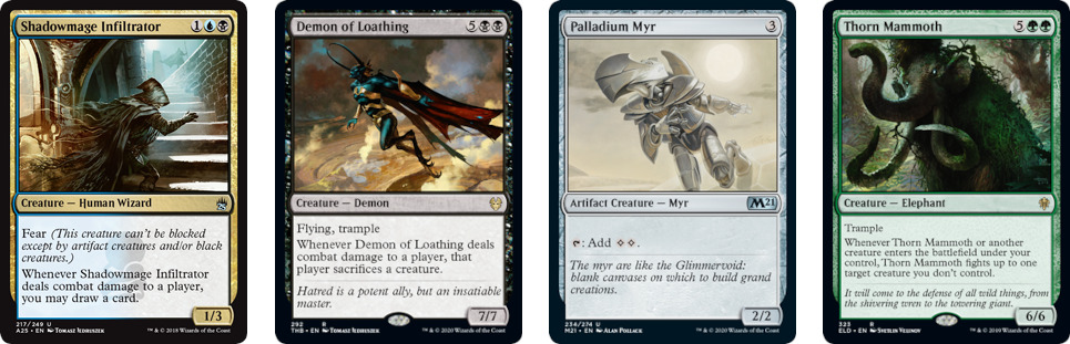 Shadowmage Infiltrator, Demon of Loathing, Palladium Myr, and Thorn Mammoth MtG cards. Image: Wizards of the Coast.