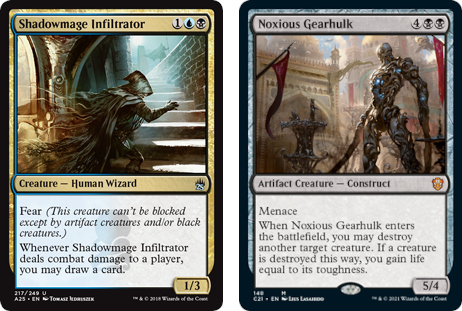 Shadowmage Infiltrator and Noxious Gearhulk MtG cards. Image: Wizards of the Coast.