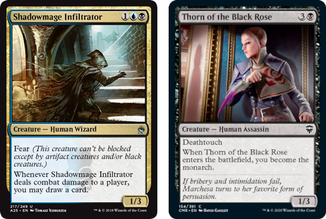 Shadowmage Infiltrator and Thorn of the Black Rose MtG cards. Image: Wizards of the Coast.