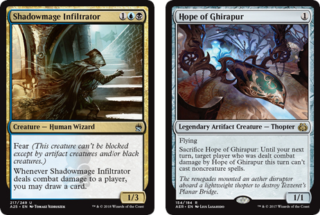 Shadowmage Infiltrator and Hope of Ghirapur MtG cards. Image: Wizards of the Coast.