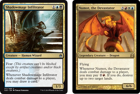 Shadowmage Infiltrator, and Numot, the Devastator MtG cards. Image: Wizards of the Coast.