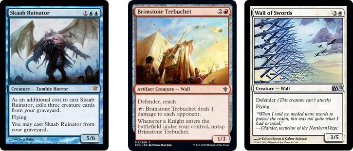 Skaab Ruinator, Brimstone Trebuchet, and Wall of Swords MtG cards. Image: Wizards of the Coast.