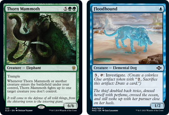 Thorn Mammoth and Floodhound MtG cards. Image: Wizards of the Coast.