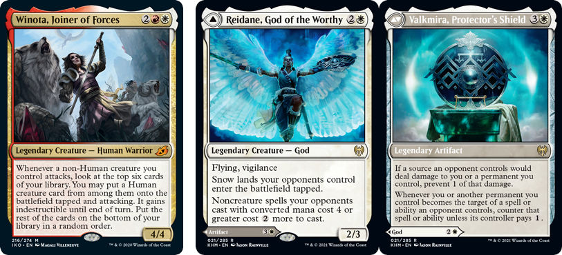 Winota, Joiner of Forces, Reidane, God of the Worthy // Valkmira, Protector's Shield MtG cards. Images: Wizards of the Coast.