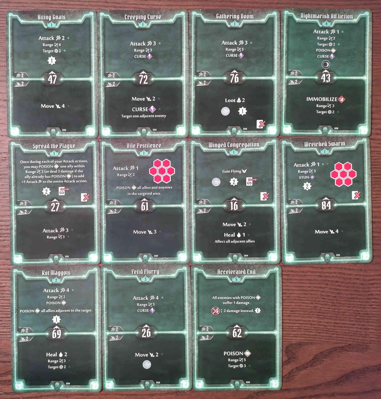 Gloomhaven Plagueherald Poison Curse Hybrid Build Level 5 cards