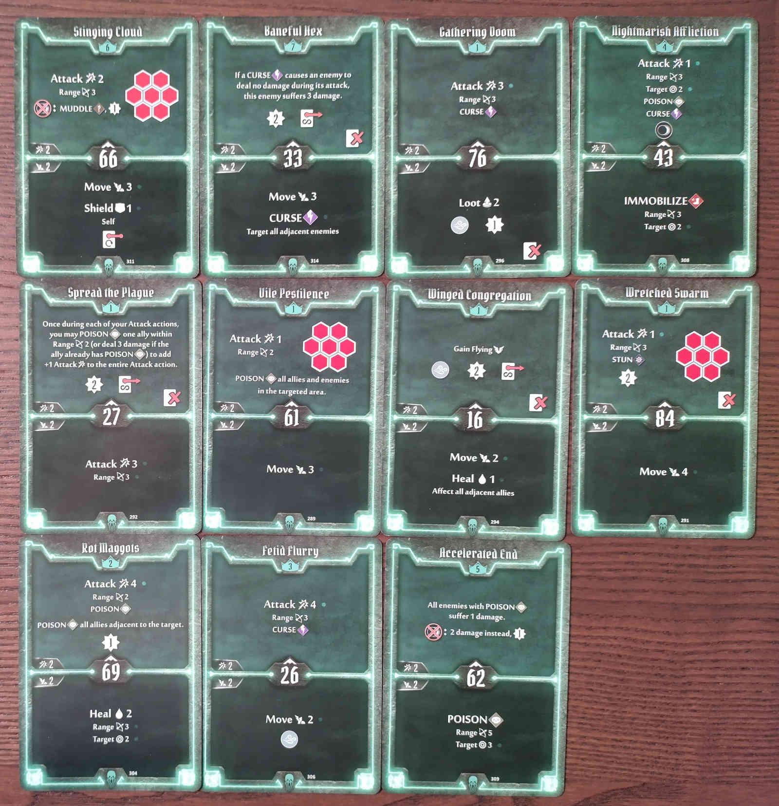 Gloomhaven Plagueherald Poison Curse Hybrid Build Level 7 cards