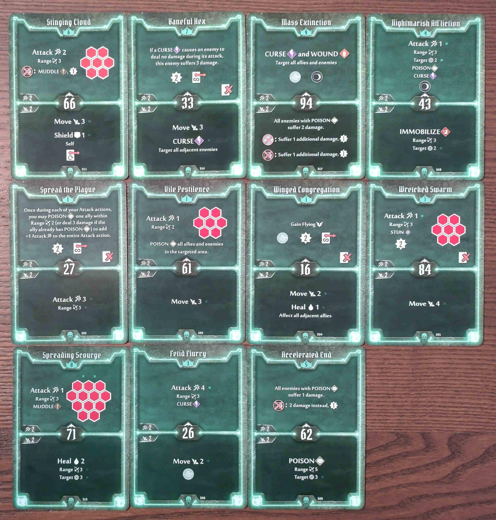 Gloomhaven Plagueherald Poison Curse Hybrid Build Level 9 cards