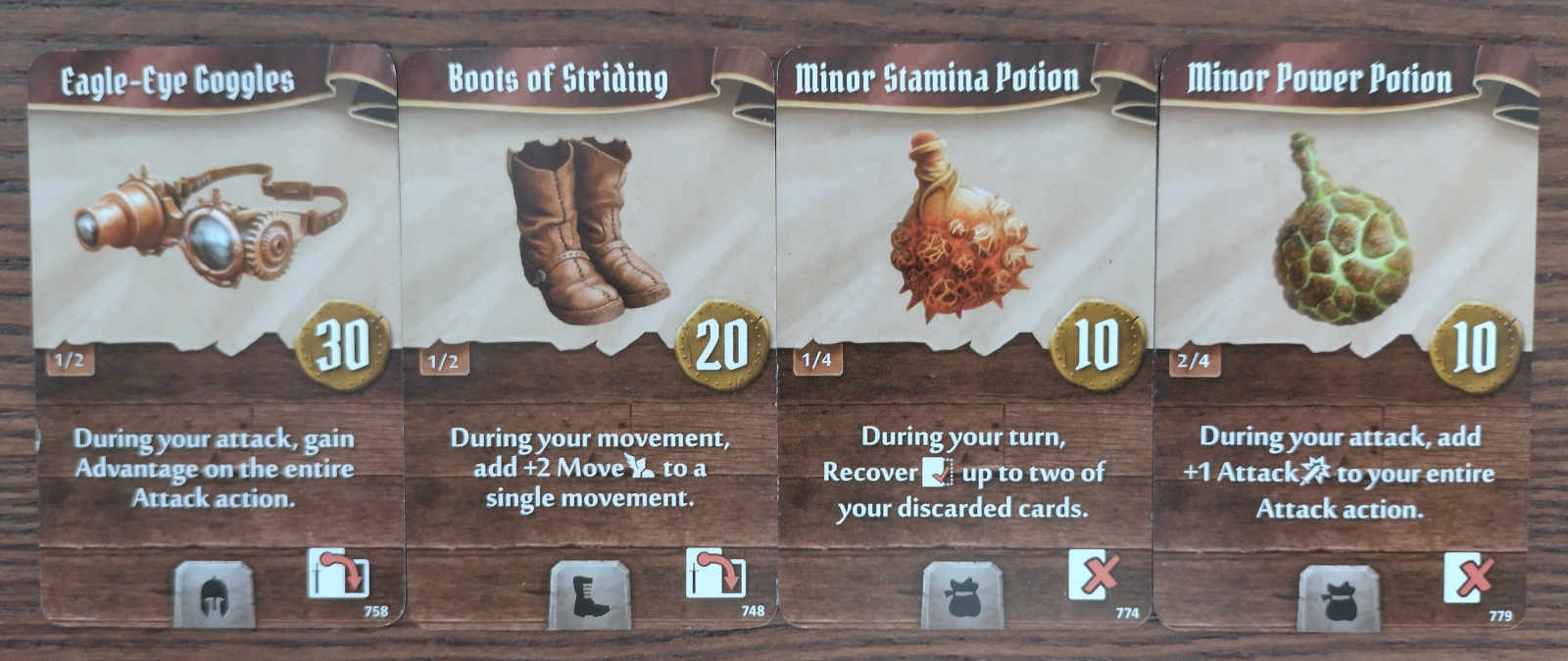Plagueherald starting item cards - Eagle-Eye Goggles, Boots of Striding, Minor Stamina Potion and Minor Power Potion