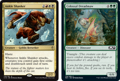 Ankle Shanker and Colossal Dreadmaw MtG cards. Image: Wizards of the Coast.