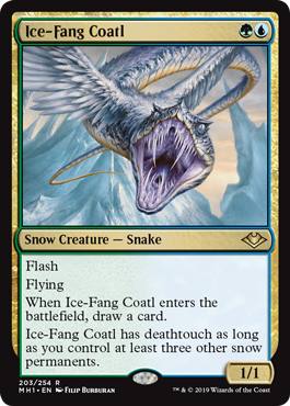 Ice-Fang Coatl MtG card. Image: Wizards of the Coast.