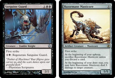Sanguine Guard and Razormane Masticore MtG cards. Image: Wizards of the Coast.