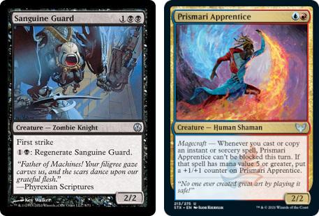 Sanguine Guard and Prismari Apprentice MtG cards. Image: Wizards of the Coast.