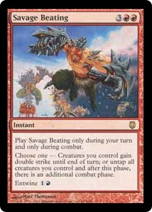 Savage Beating MTG card. Image: Wizards of the Coast.
