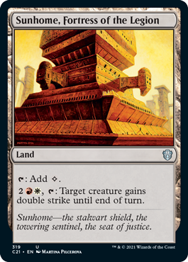 Sunhome, Fortress of the Legion MTG card. Image: Wizards of the Coast.