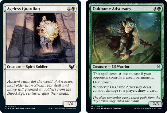 Ageless Guardian and Oakhame Adversary MtG cards. Image: Wizards of the Coast.
