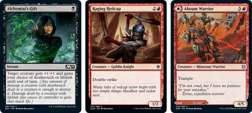 Alchemist's Gift, Raging Redcap, and Akoum Warrior MTG cards. Image: Wizards of the Coast.