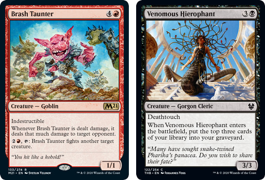 Brash Taunter and Venomous Hierophant MtG cards. Image: Wizards of the Coast.