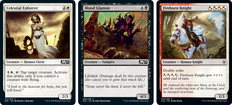 Celestial Enforcer, Blood Glutton, and Fireborn Knight MTG Cards. Image: Wizards of the Coast.