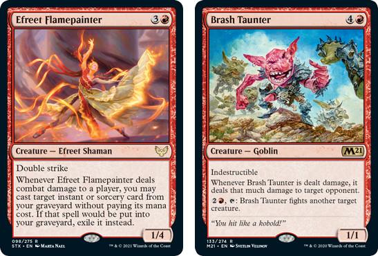 Efreet Shaman and Brash Taunter MTG cards. Image: Wizards of the Coast.