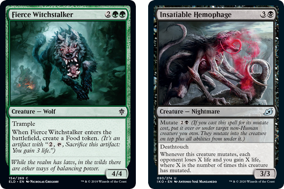 Fierce Witchstalker and Insatiable Hemophage MtG cards. Image: Wizards of the Coast.