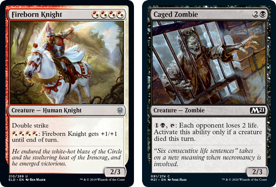 MTG cards Fireborn Knight and Caged Zombie. Image: Wizards of the Coast.