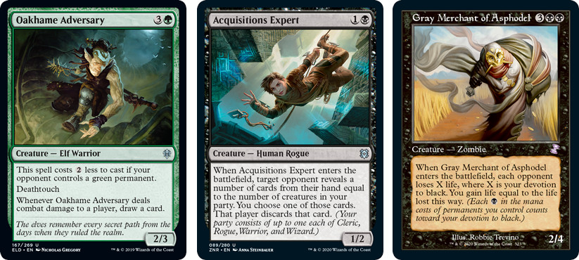 Oakhame Adversary, Acquisitions Expert and Grey Merchant of Asphodel MtG cards. Image: Wizards of the Coast.