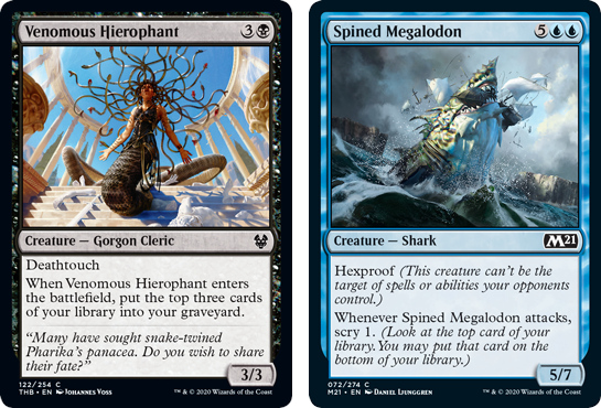 Venomous Hierophant and Spined Megalodon MtG cards. Image: Wizards of the Coast.
