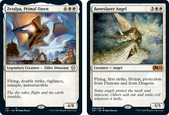 Zetalpa, Primal Dawn and Baneslayer Angel MTG cards. Image: Wizards of the Coast.