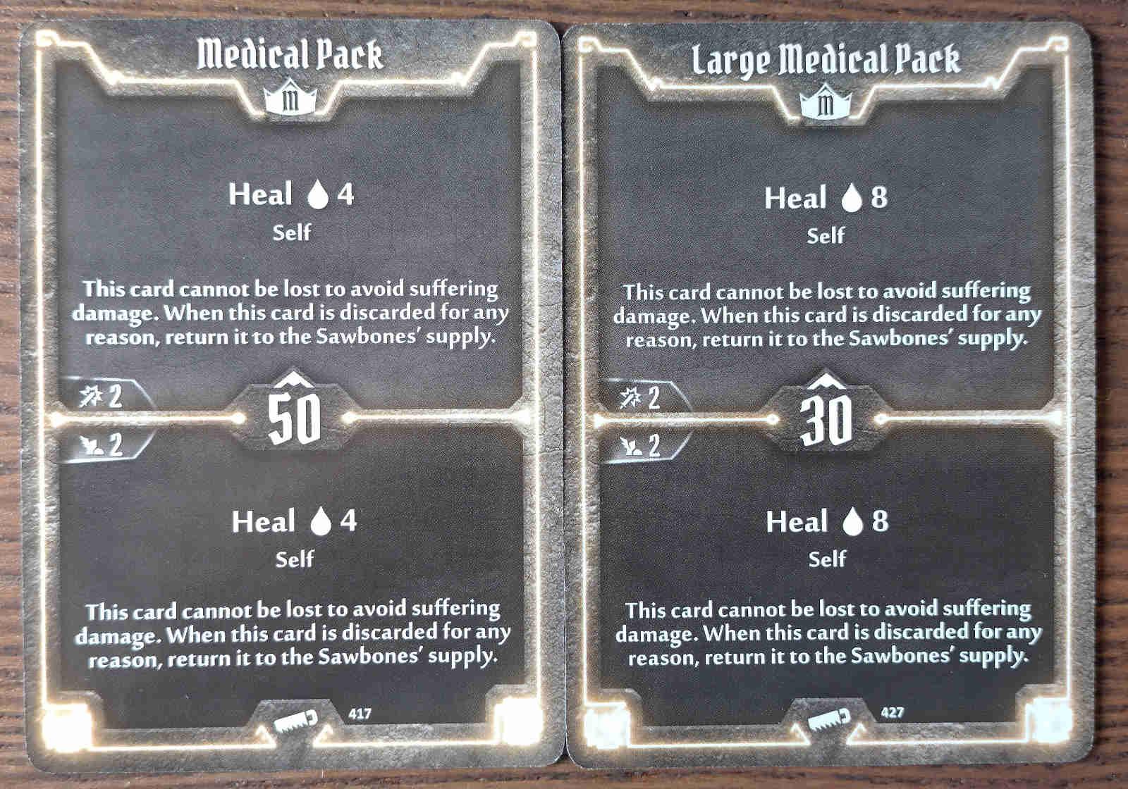 Sawbones Medical Pack and Large Medical Pack cards