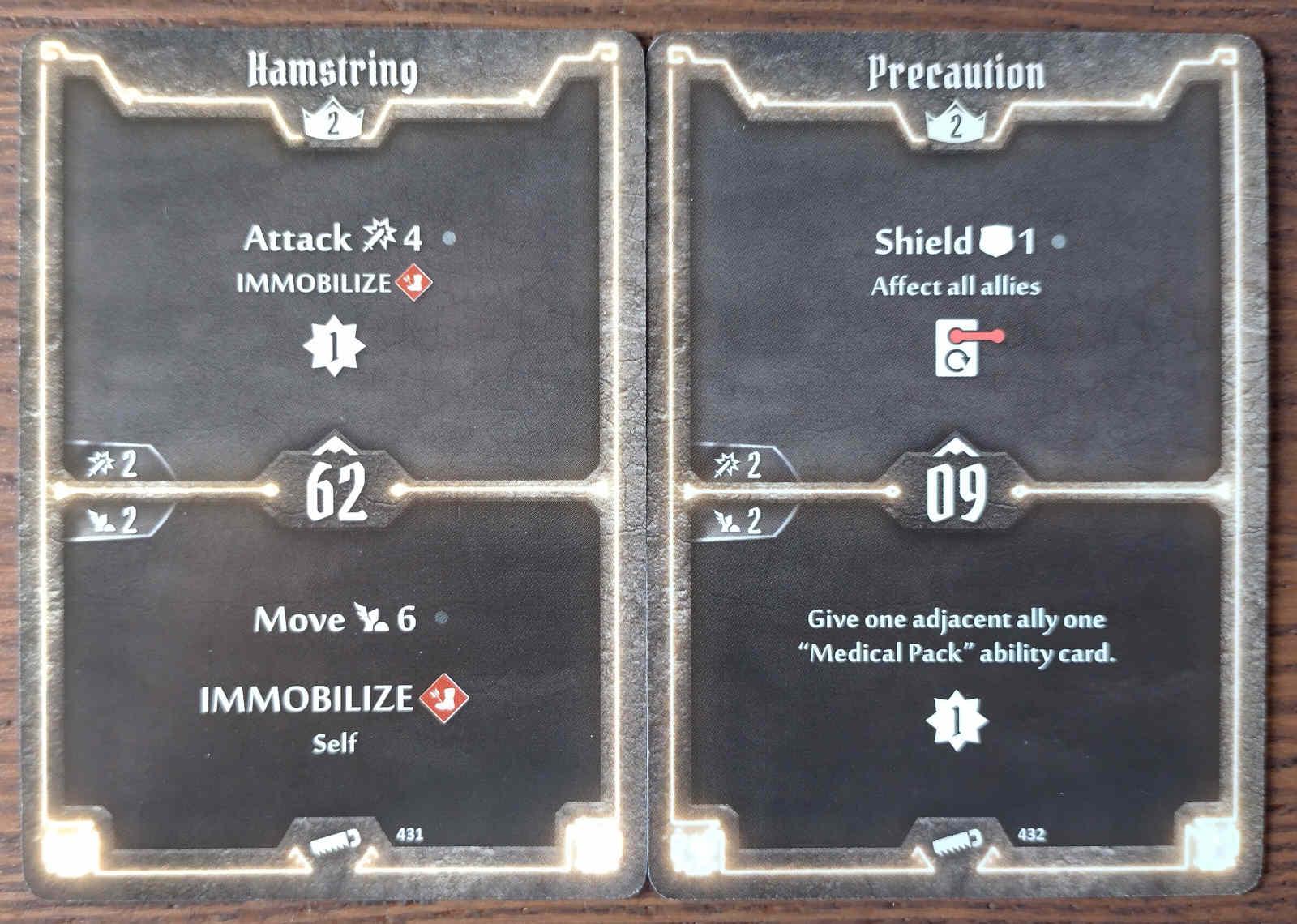 Level 2 Sawbones cards - Hamstring and Precaution