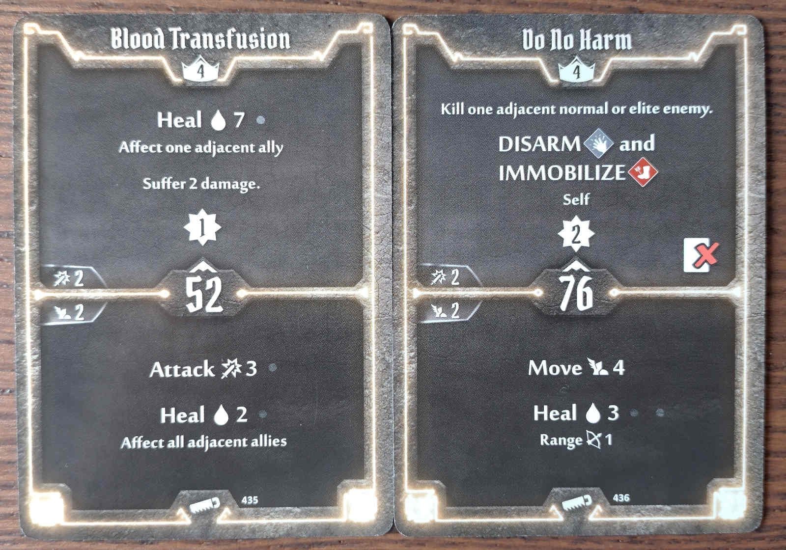 Level 4 Sawbones cards - Blood Transfusion and Do No Harm
