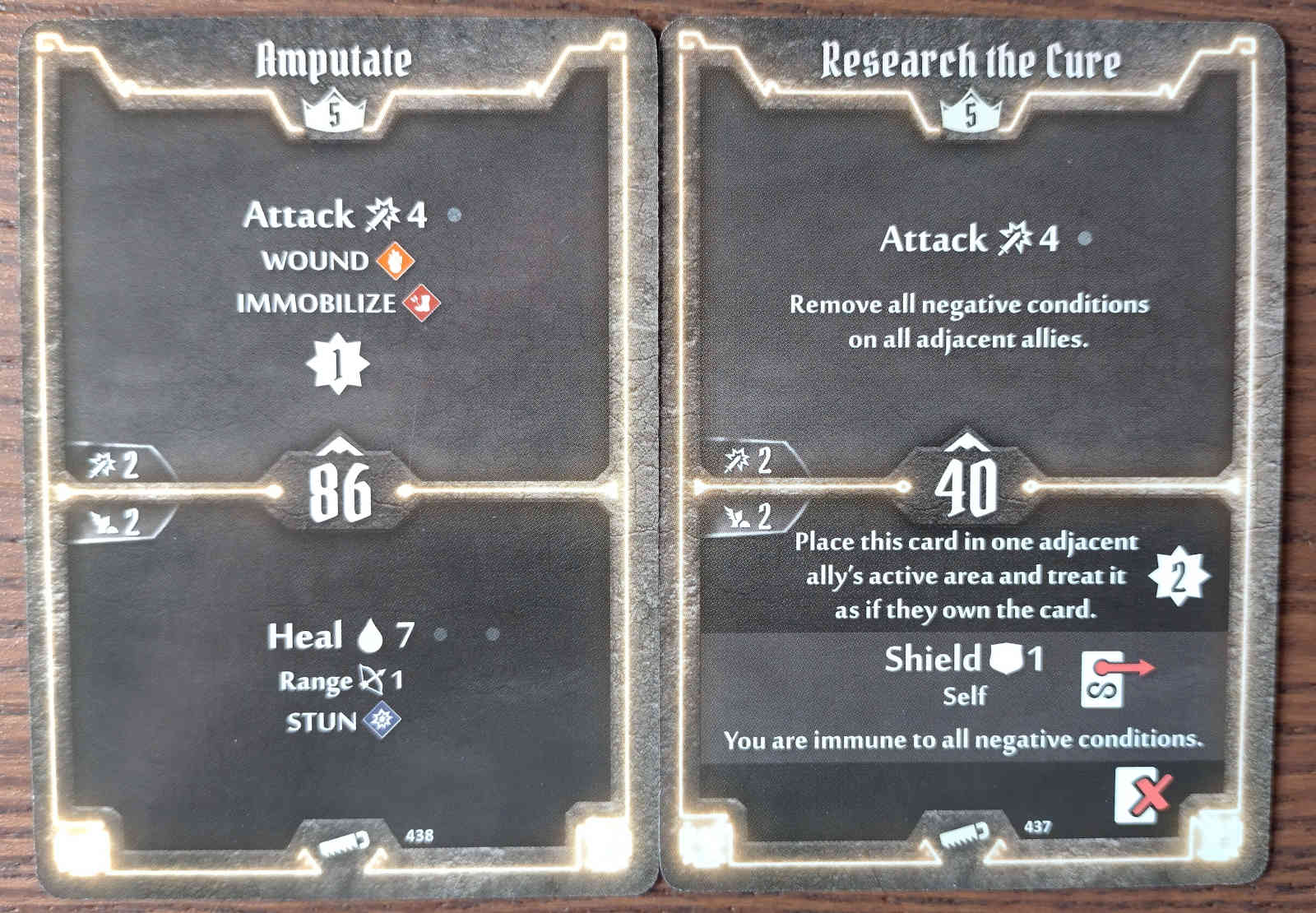 Level 5 Sawbones cards - Amputate and Research the Cure