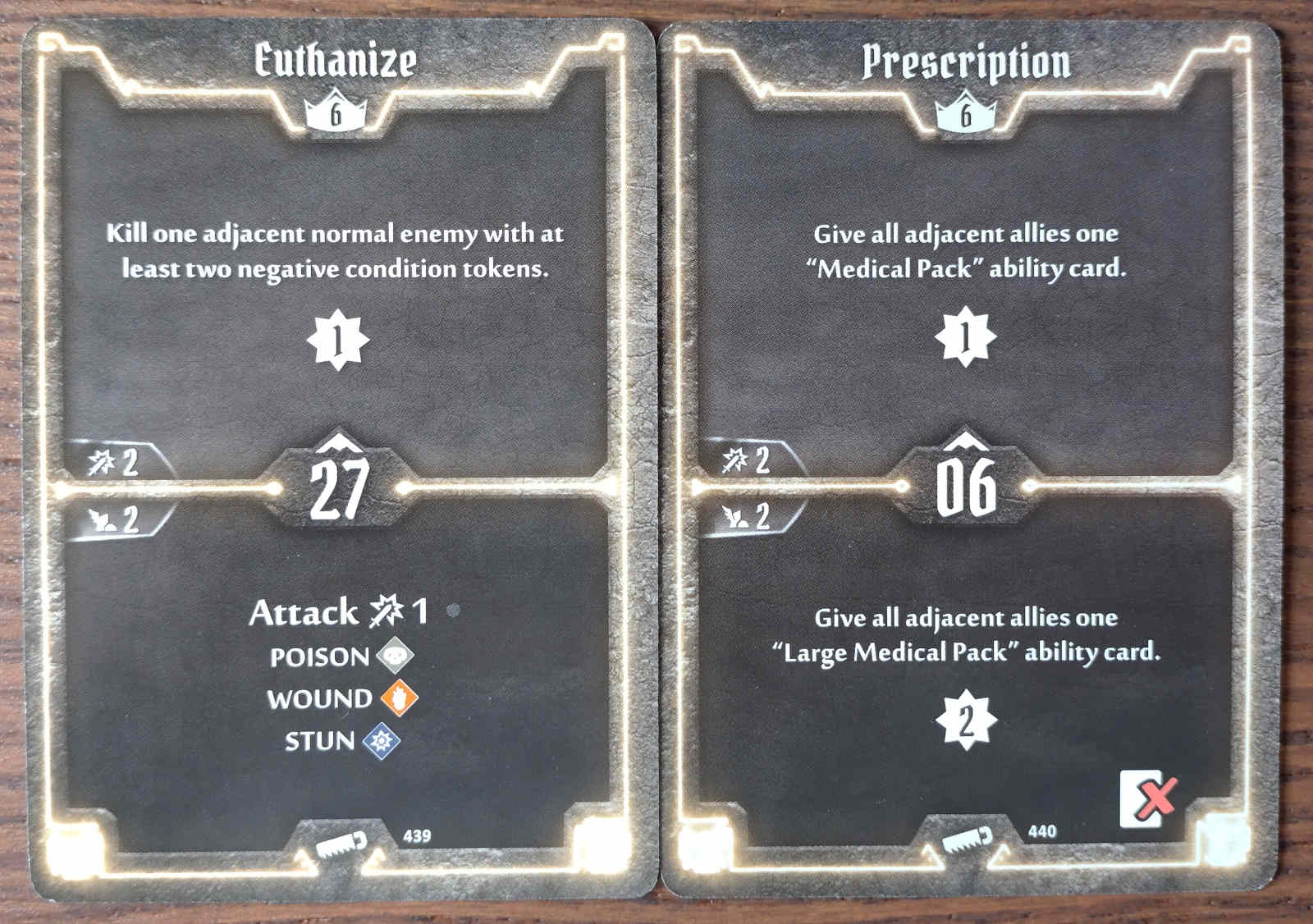 Level 6 Sawbones cards - Euthanize and Prescription