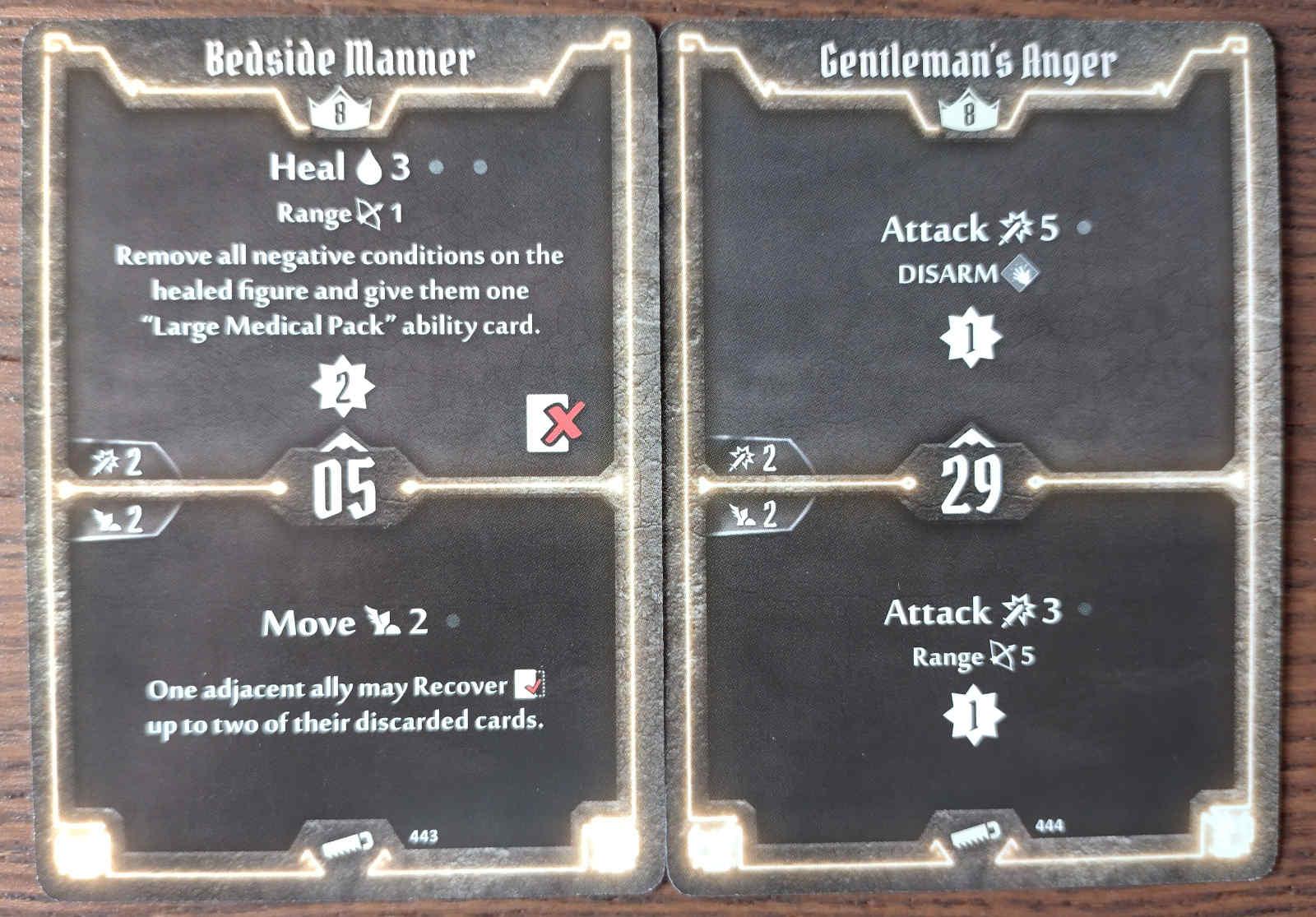 Level 8 Sawbones cards - Bedside Manner and Gentlemen's Anger