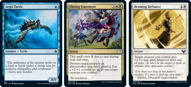 MTG cards Aegis Turtle, Closing Statement, Beaming Defiance. Image: Wizards of the Coast.