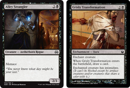 MtG cards Alley Strangler and Grisly Transformation. Image: Wizards of the Coast.