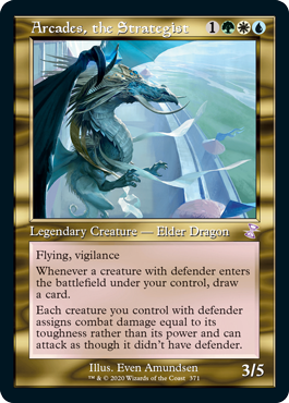 MTG card Arcades, the Strategist. Image: Wizards of the Coast