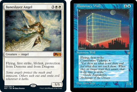 MTG cards Baneslayer Angel and Illusionary Wall. Image: Wizards of the Coast