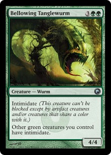 MtG card Bellowing Tanglewurm. Image: Wizards of the Coast.